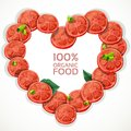 Frame in heart shape from fresh tomato slices spri sprinkled with herbs Royalty Free Stock Image