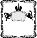 Frame with heraldic lions on white Royalty Free Stock Photo