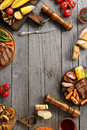 Frame juicy steaks cooked on grill with grilled vegetables Royalty Free Stock Photo