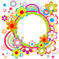 Frame for kids with circles, flowers and stars Royalty Free Stock Photo