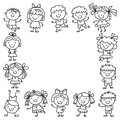 Frame with kids School, kindergarten. Happy children. Creativity, imagination doodle icons with kids. Play, study, grow