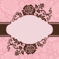 Frame with lace flowers vector on the pink background eps Royalty Free Stock Image