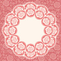 Frame with lace flowers vector on the pink background roses eps Royalty Free Stock Photography