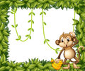 A frame of leaves with a monkey and bananas illustration Stock Photos
