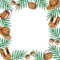 Frame leopard and tropical leaves