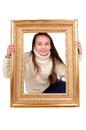 Frame little girl with a Stock Image