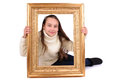 Frame little girl with a Stock Images