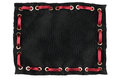 Frame made of black silk with inserted red satin ribbon, isolated Royalty Free Stock Photo