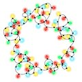 Frame made of christmas multicolored shiny garlands on a white background Royalty Free Stock Photo