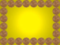Frame made from one euro cent coins on yellow background Stock Photo