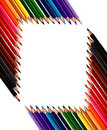 Frame made out of crayons coloured pencils Royalty Free Stock Photo
