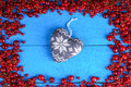 Frame made of red currant and cherry with heart shape Royalty Free Stock Photo