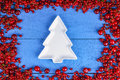 Frame made of red currant and cherry with plate Royalty Free Stock Photo