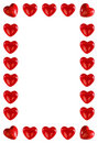 Frame made of red hearts Royalty Free Stock Photo