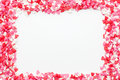 The frame is made up of many small hearts on a white background Royalty Free Stock Photo
