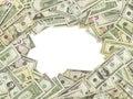 The frame made of US Dollars Bills. All nominal bills both sides. Royalty Free Stock Photo