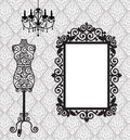 Frame, mannequin and chandelier Stock Images