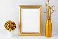 Frame mockup with golden vase Royalty Free Stock Photo