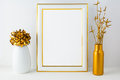 Frame mockup with white and golden vases portrait or poster empty for design presentation Royalty Free Stock Photo