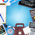 Frame of office supplies the concept buisness Stock Image