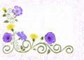 Frame with openwork ornament,  decorated violet flowers of cornflowers, Royalty Free Stock Photo