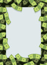Frame out of money. Many dollars flying. Space for text. Cash gr Royalty Free Stock Photo