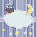 Frame with owl,moon and stars Royalty Free Stock Photo