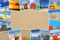 Frame with photos from summer vacation, sand, beach, holiday and Royalty Free Stock Photo
