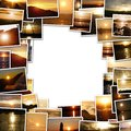 Frame of the photos of the sunset romantic decoration Stock Photos