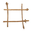 The frame for the picture made from rough pine logs, isolated on Royalty Free Stock Photo