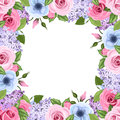 Frame with pink, blue and purple roses, lisianthus and lilac flowers. Vector illustration.