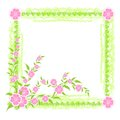 Frame with pink flowers festive and leaves Stock Images