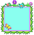 Frame of Plants, Flowers, and Butterfly Royalty Free Stock Images