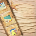 Frame with postcards wooden summer on sandy background starfish Royalty Free Stock Photos