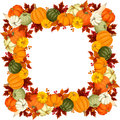 Frame with pumpkins and autumn leaves. Vector illustration. Royalty Free Stock Photo