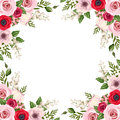 Frame with red and pink roses, lisianthus and anemone flowers and lily of the valley. Vector. Royalty Free Stock Photo