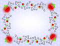 Frame with red roses and colorful leaves Royalty Free Stock Photo