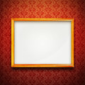 Frame on red vintage wallpaper Royalty Free Stock Photography