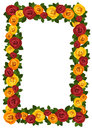 Frame with red and yellow roses. Royalty Free Stock Photo