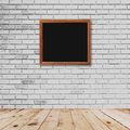 Frame room interior and white brick wall with wood floor Royalty Free Stock Photo