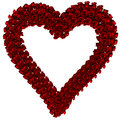 Frame roses heart made with red with clipping path Stock Image