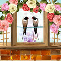 Frame with roses and two swallows Royalty Free Stock Photo