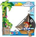 Frame with sea and pirate theme 5 Royalty Free Stock Photo