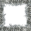 Frame of silver tinsel square decorative over white Stock Photo