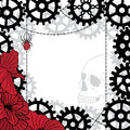 Frame with skull gears spider and chains vector in black red white colors Stock Photo