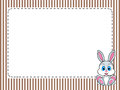 Frame stripes greetings card with rabbit png available edges striped vintage at the bottom right central space for customization Royalty Free Stock Images