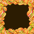 Frame from tasty burger grilled beef and fresh vegetables dressed with sauce bun for snack, american hamburger fast food