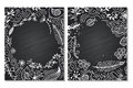 Frame for text with floral ornament summer. Chalk board. White on black. Royalty Free Stock Photo