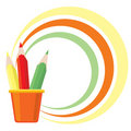 Frame with three color pencils Royalty Free Stock Photo
