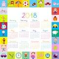 Frame with toys 2018 calendar for kids